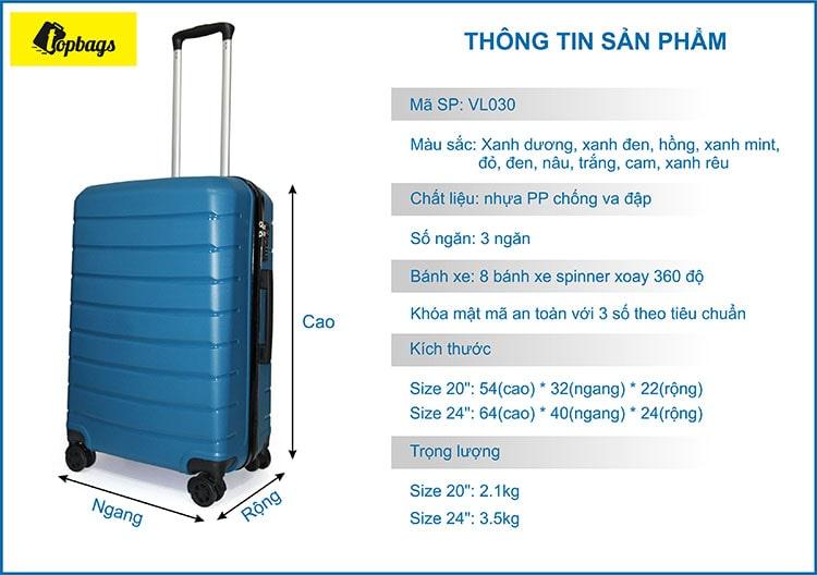 vali nhựa dẻo VL030