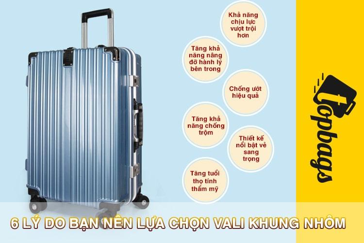 6 lý do bạn nên lựa chọn vali khung nhôm