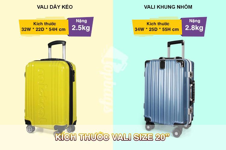 kích thước vali size 20- các size vali