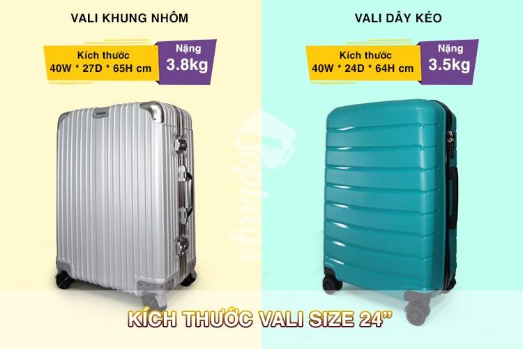 kích thước vali size 24-các size vali