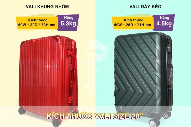 kích thước vali size 28-các size vali