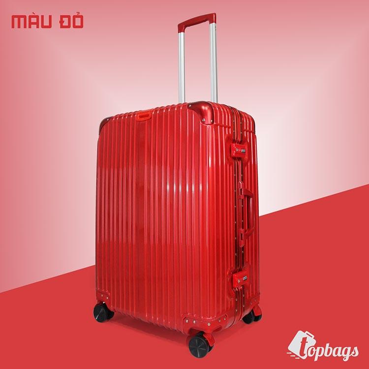 Vali kéo khóa sập khung nhôm RMW01 màu đỏ size 26